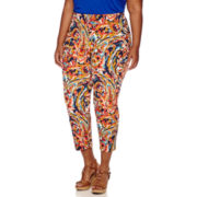 Liz Claiborne® Print Slim Crop Pants - Plus