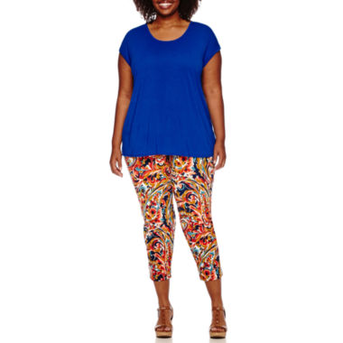 jcpenney.com | Liz Claiborne® Short-Sleeve Butterfly Back Tee or Print Slim Leg Crop Pants - Plus