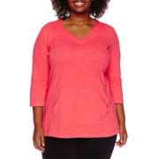 Liz Claiborne® Long-Sleeve V-Neck Pullover Tunic - Plus