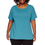 Liz Claiborne® Short-Sleeve Solid Tee - Plus