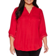 Worthington® 3/4-Sleeve Roll-Tab Tunic Blouse - Plus