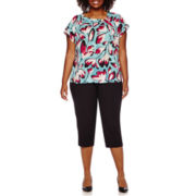Liz Claiborne® Short-Sleeve Asymmetrical Knot Blouse or Emma Fall Ankle Pants - Plus