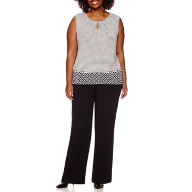 jcpenney.com | Liz Claiborne® Sleeveless Keyhole Knit Top or Slimming Straight-Leg Pants - Plus