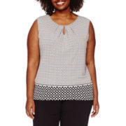 Liz Claiborne® Sleeveless Keyhole Knit Top - Plus