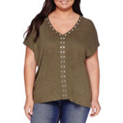 a.n.a® Short-Sleeve Embellished Double V-Neck Top - Plus