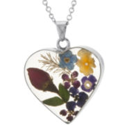 Silver-Plated Pressed Flower Heart Pendant