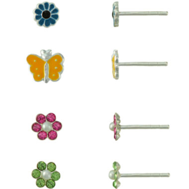 jcpenney.com | Girls Sterling Silver 4-pr. Enamel Earring Set