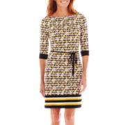 Liz Claiborne® 3/4-Sleeve Border Print Dress