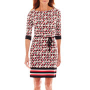 Liz Claiborne® 3/4-Sleeve Border Print Dress