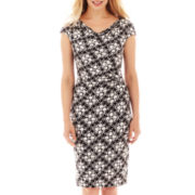 Liz Claiborne Short-Sleeve Cowlneck Dress