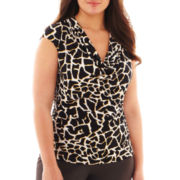 Worthington® Sleeveless Draped Cowlneck Top - Plus