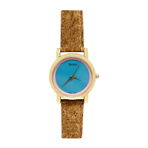 Decree® Womens Cork Band Colored Dial Watch