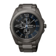 Seiko® Mens Black Stainless Steel Solor Chronograph Watch