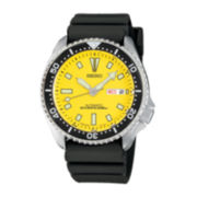 Seiko® Mens Yellow Stainless Steel Dive Watch