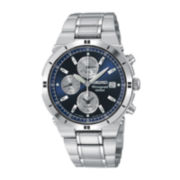 Seiko® Mens Silver-Tone Chronograph Alarm Watch