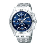 Pulsar® Mens Stainless Steel Blue Chronograph Watch