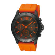 Pulsar® Mens Orange and Black Rubber Strap Chronograph Watch