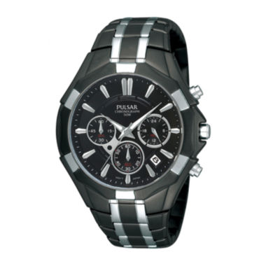 jcpenney.com | Pulsar® Mens Black and Silver-Tone Chronograph Watch  PT3289