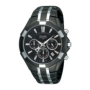 Pulsar® Mens Black and Silver-Tone Chronograph Watch
