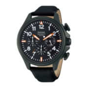 Pulsar® Mens Black Leather Strap Chronograph Watch