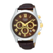Pulsar® Mens Two-Tone Brown Leather Strap Chronograph Watch