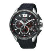 Pulsar® Mens Black Rubber Strap Chronograph Watch  PU2021