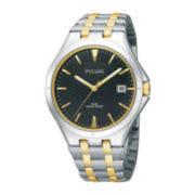 Pulsar® Mens Two-Tone Stainless Steel Dress Watch PXH909