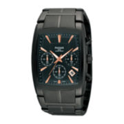 Pulsar® Mens Black Rectangular Chronograph Watch