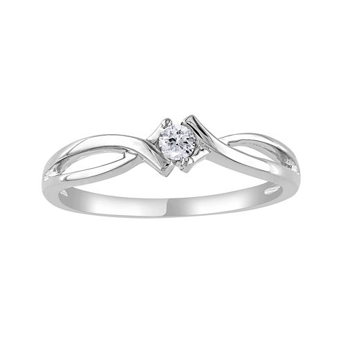 1/10 CT. Diamond Solitaire 10K White Gold Ring