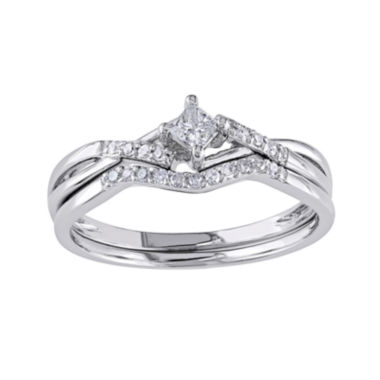 jcpenney.com | 1/5 CT. T.W. Diamond 10K White Gold Bridal Ring Set