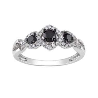 jcpenney.com | Midnight Black Diamond 1/2 CT. T.W. White & Color-Enhanced Black Diamond 10K White Gold 3-Stone Ring