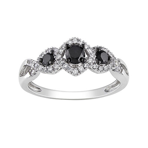 Midnight Black Diamond 1/2 CT. T.W. White & Color-Enhanced Black Diamond 10K White Gold 3-Stone Ring