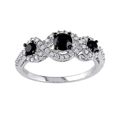 Midnight Black Diamond 1 CT. T.W. White & Color-Enhanced Black Diamond 10K White Gold 3-Stone Ring