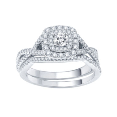 jcpenney.com | Modern Bride® Signature 3/4 CT. T.W. Certified White & Color-Enhanced Blue Diamond RIng Set