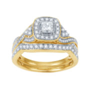 Modern Bride® Signature 1 CT. T.W. White & Color-Enhanced Blue Diamond Bridal Se
