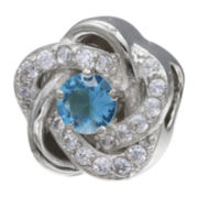 Forever Moments™ Aqua Cubic Zirconia Love Knot Bead