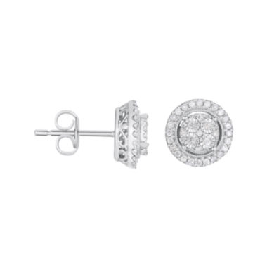 jcpenney.com | TruMiracle® 1/4 CT. T.W. Diamond Round Sterling Silver Earrings