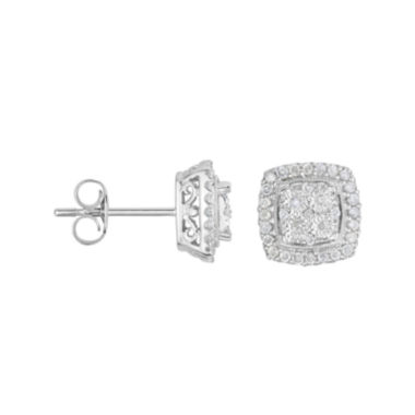 jcpenney.com | TruMiracle® 1/4 CT. T.W. Diamond Square Sterling Silver Earrings