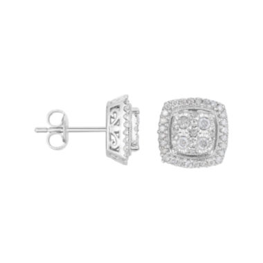 jcpenney.com | TruMiracle® 1/2 CT. T.W. Diamond Square Sterling Silver Earrings