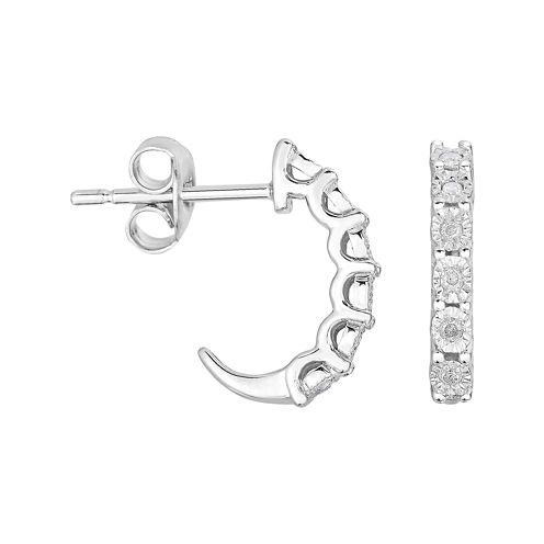 TruMiracle® 1/10 CT. T.W. Diamond Sterling Silver C-Hoop Earrings