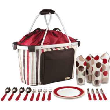 jcpenney.com | Picnic Time® Melrose-Moka Picnic Basket Tote – Service for 4