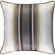 Platinum Striped Square Decorative Pillow