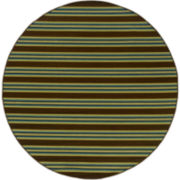 Bars Striped Indoor/Outdoor Round Rug