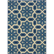 Crystal Floral Indoor/Outdoor Rectangular Rug