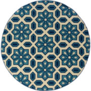 Crystal Floral Indoor/Outdoor Round Rug