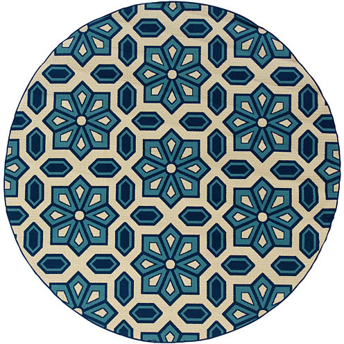 Covington Home Crystal Floral Indoor/Outdoor RoundRug