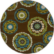 Suzani Floral Indoor/Outdoor Round Rug