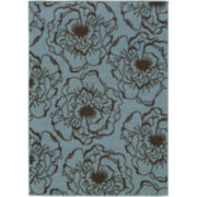 Blue Ink Floral Indoor/Outdoor Rectangular Rugs