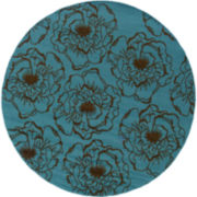 Blue Ink Floral Indoor/Outdoor Round Rug