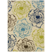 Ink Floral Indoor/Outdoor Rectangular Rug